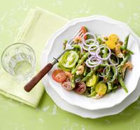 salade met sperziebonen en tomaten