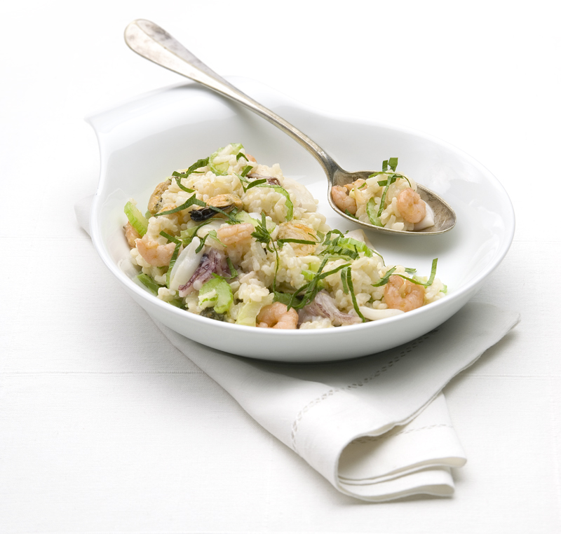risotto met bleekselderij en garnalen