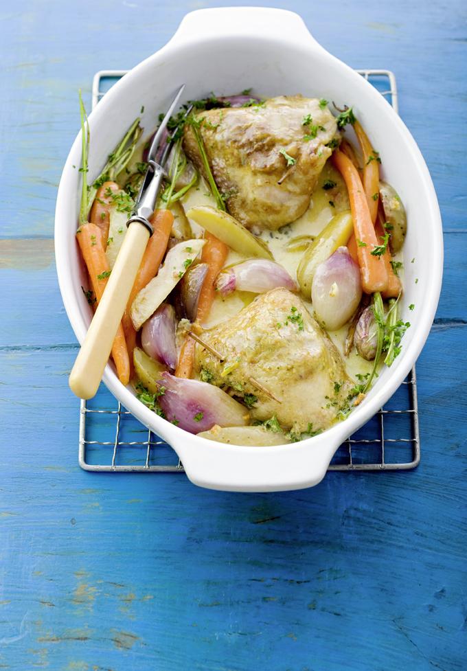 romige ovenschotel met kip en sjalot