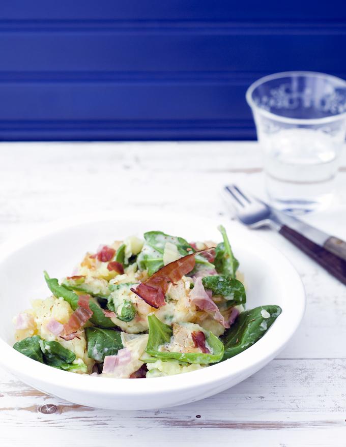stamppot spinazie met ham