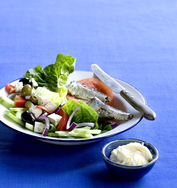 zomerse groentesalade met sardientjes