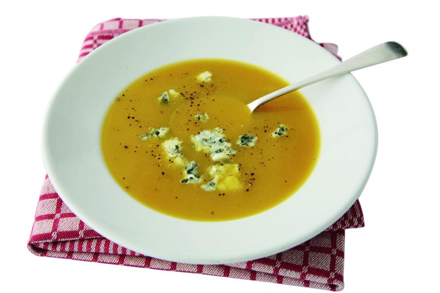 Pompoensoep met roquefort-delicious