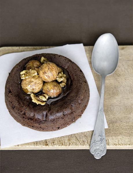 chocoladetaartje met kastanje