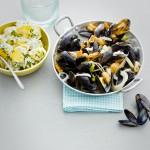 Normandische mosselen aardappelsalade - delicious