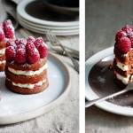 Chocoladetaartjes met room en frambozen