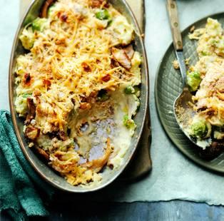 spruitjesstamppot met oesterzwammen en oude kaas