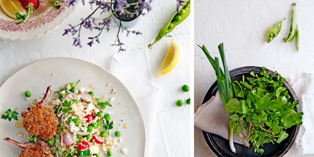 krokante lamskoteletjes met lentesalade