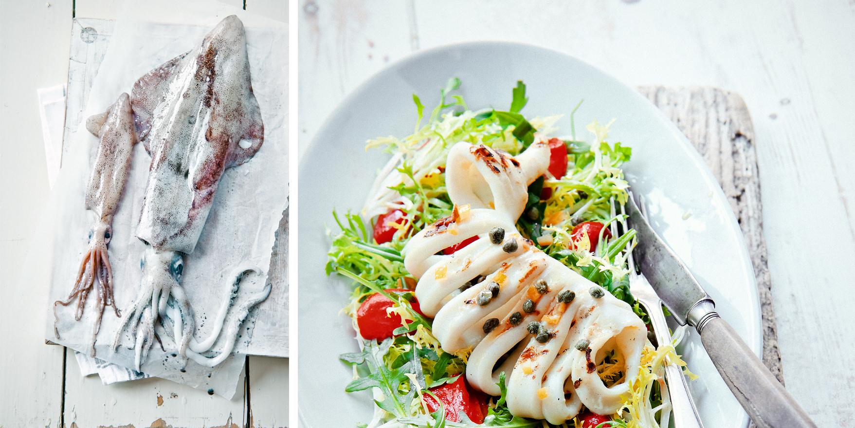 salade van gegrilde inktvis
