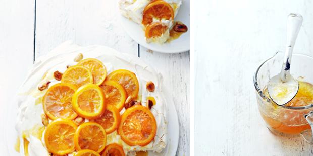 meringuetaart met sinaasappelcrème gekonfijte sinaasappel