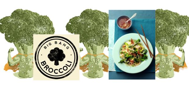 noedelsalade met ham, chinese broccoli en vijfkruidendressing