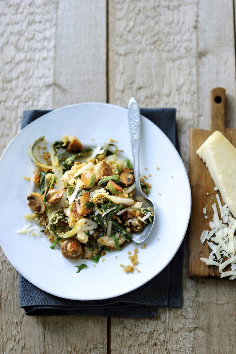 quinoa-risotto met kip en champignons