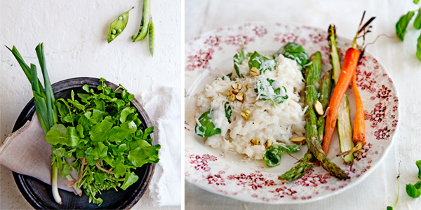risotto met basilicum en geroosterde groenten