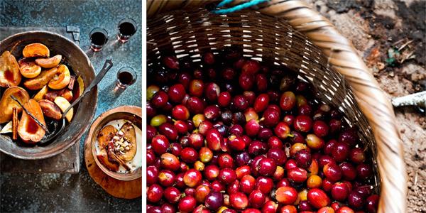 in koffie gepocheerd fruit met sabayon