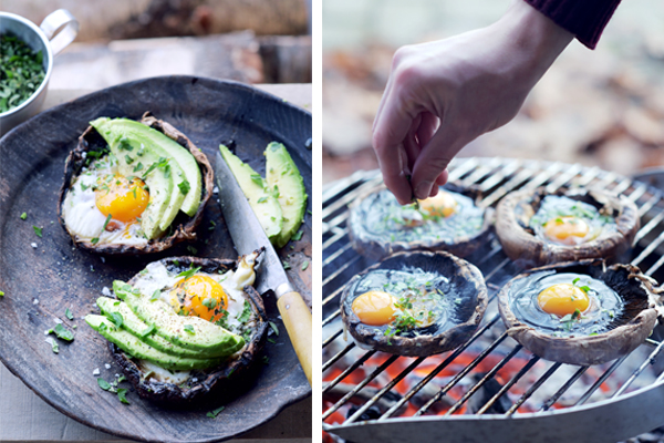 gegrilde portobello met tijmsalie-eitjes en avocado