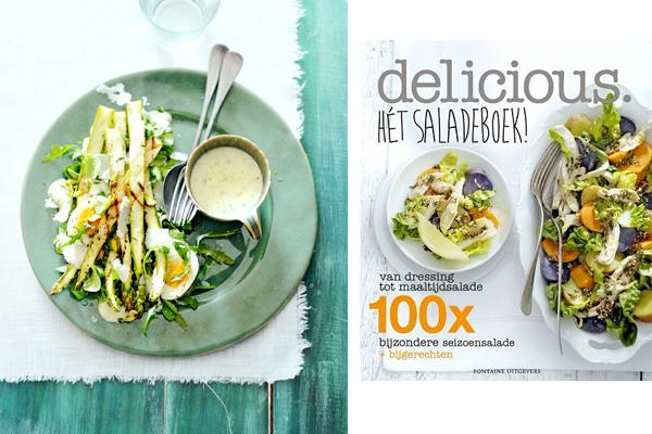 uit ons nieuwste boek: salade van geroosterde groene asperges met pistache en citroen-tijmdressing