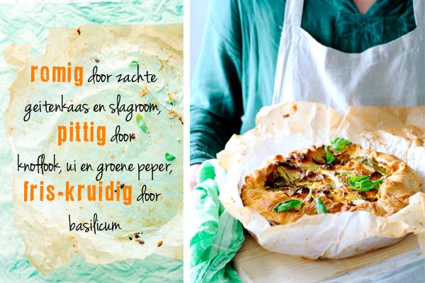 hartige taart met courgette basilicum en geitenkaas | delicious