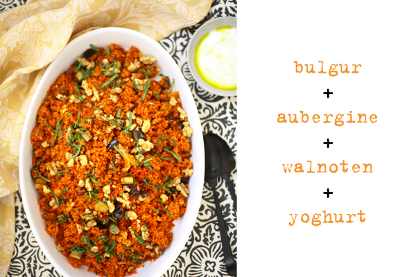 bulgursalade met aubergine, walnoten en yoghurt | delicious