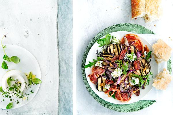 aubergine-rucolasalade met kruidenricotta