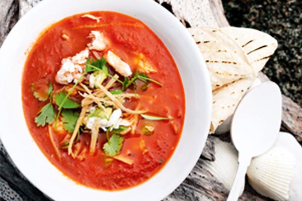 pittige gazpacho met krab