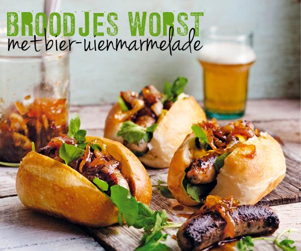 Genoeg broodje worst van de bbq met bier-uienmarmelade | delicious. magazine &OR43