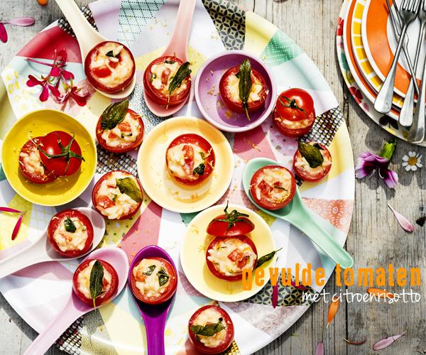 gevulde tomaten met kruidige citroenrisotto