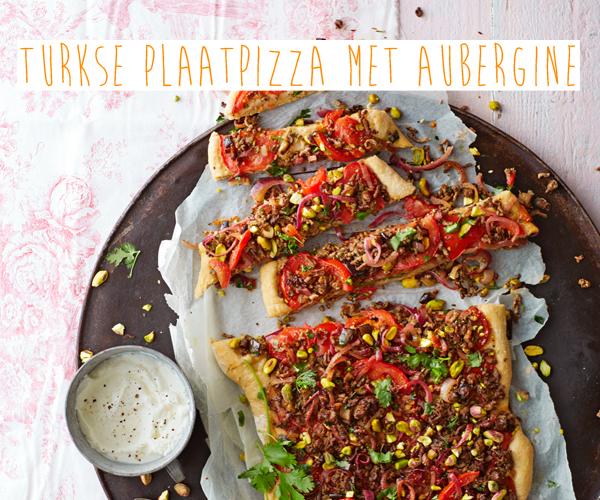 turkse pizza voor veel met aubergine