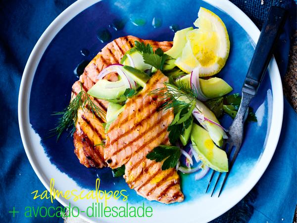 gegrilde zalm avocado dille saus | delicious