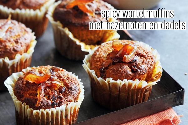 spicy wortelmuffins met hazelnoten en dadels
