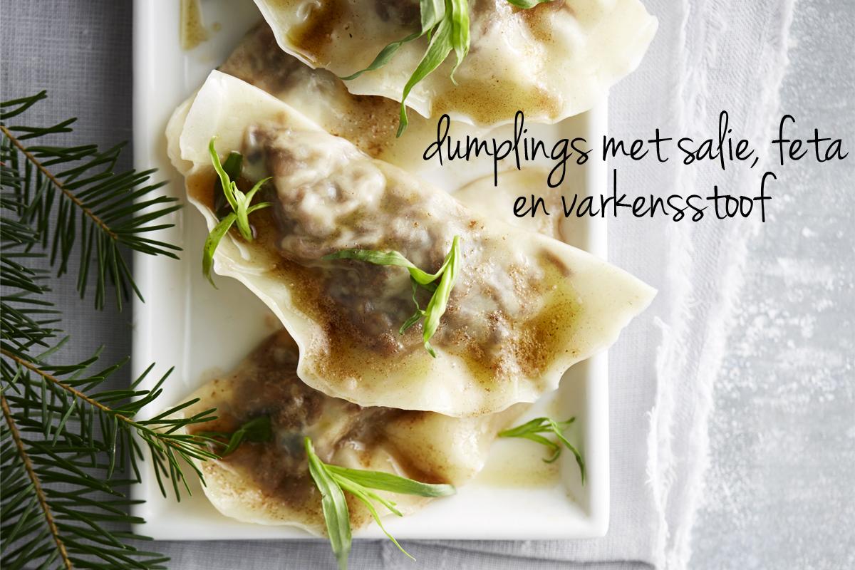 dumplings met salie, feta en varkensstoof