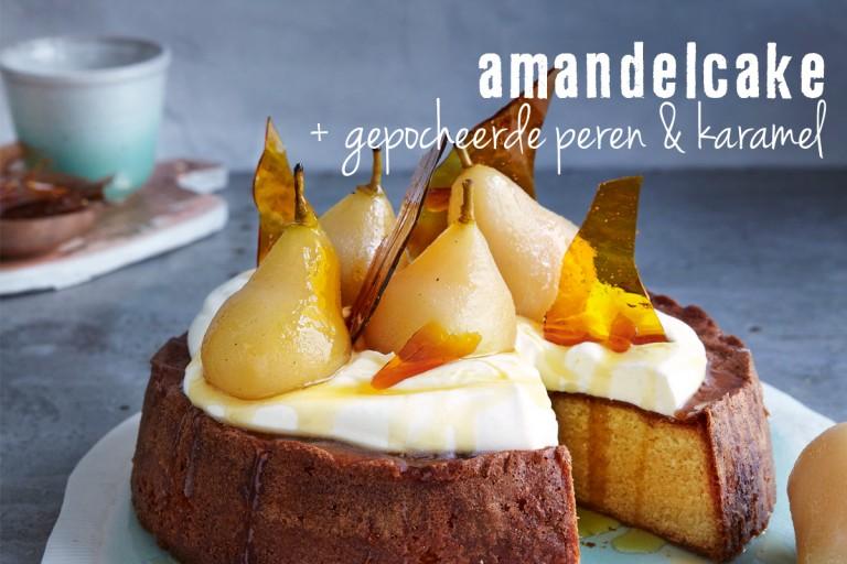 amandelcake met gepocheerde peren en karamel