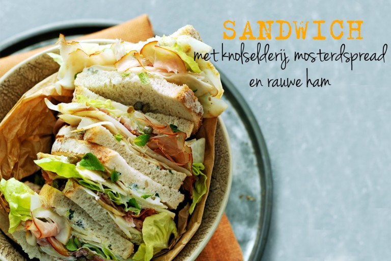 sandwich met knolselderij, mosterdspread en rauwe ham