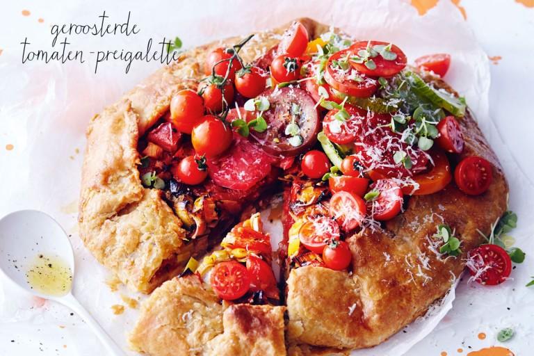 galette met geroosterde tomaten en prei