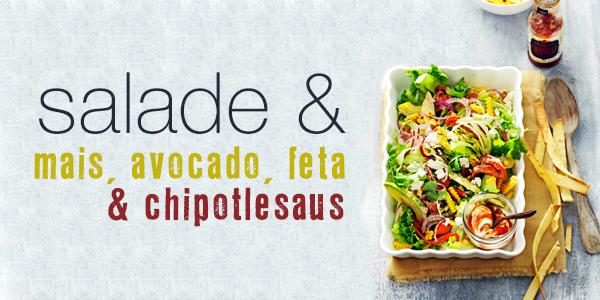 Mexicaanse salade met maïs, avocado en feta met chipotlesaus