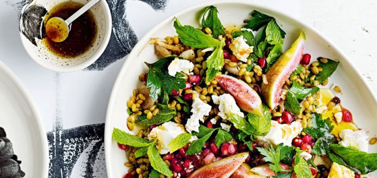 salade van freekeh en vijgen