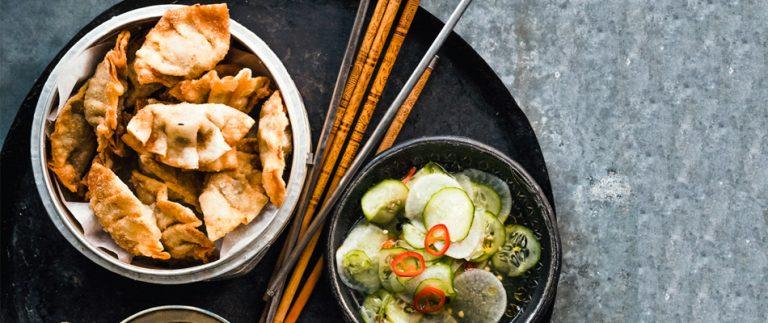 koreaanse dumplings met varkensgehakt en gamba's