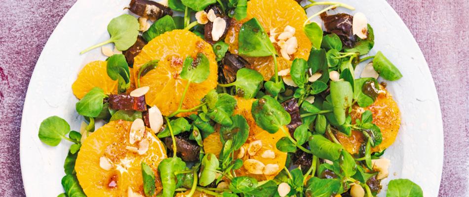 eten uit sirocco: salade van dadels, sinaasappel en waterkers