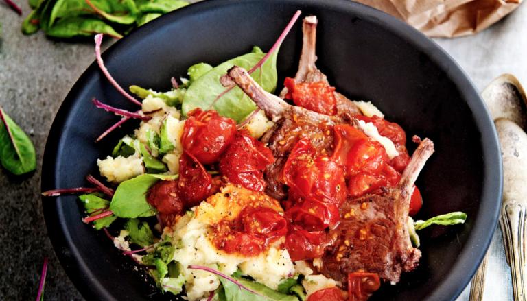 lamskoteletten met zoete tomaatjes en gember