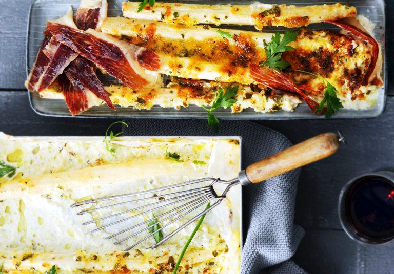 gratin van schorseneren met emmentaler, ham en peterselie