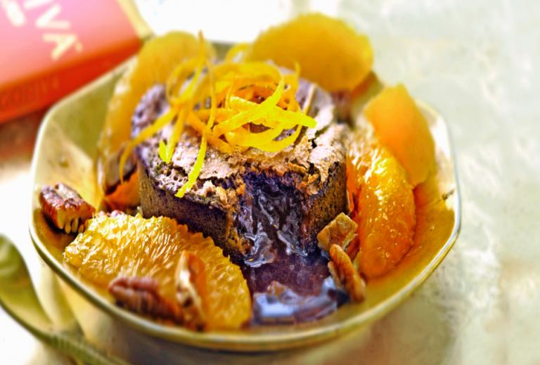 blood orange lava-cakeje van chocolade