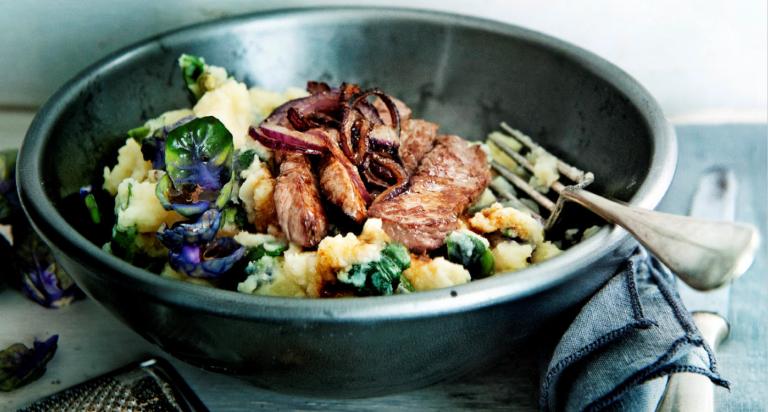 groentestamp met biefstuk en ui