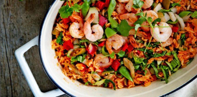 thaise rijst met garnalen en koriander
