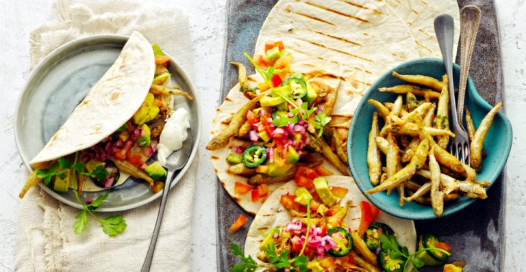 taco met gefrituurde spiering