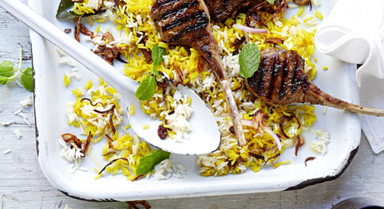 lamskoteletten met biryani-rijst