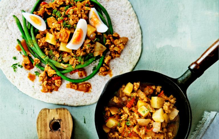 aardappelen, vlees en groente