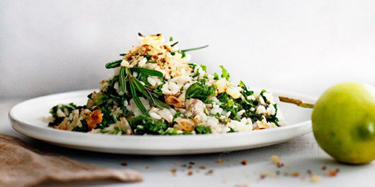 risotto met boerenkool, taleggio en citroenpangrattato