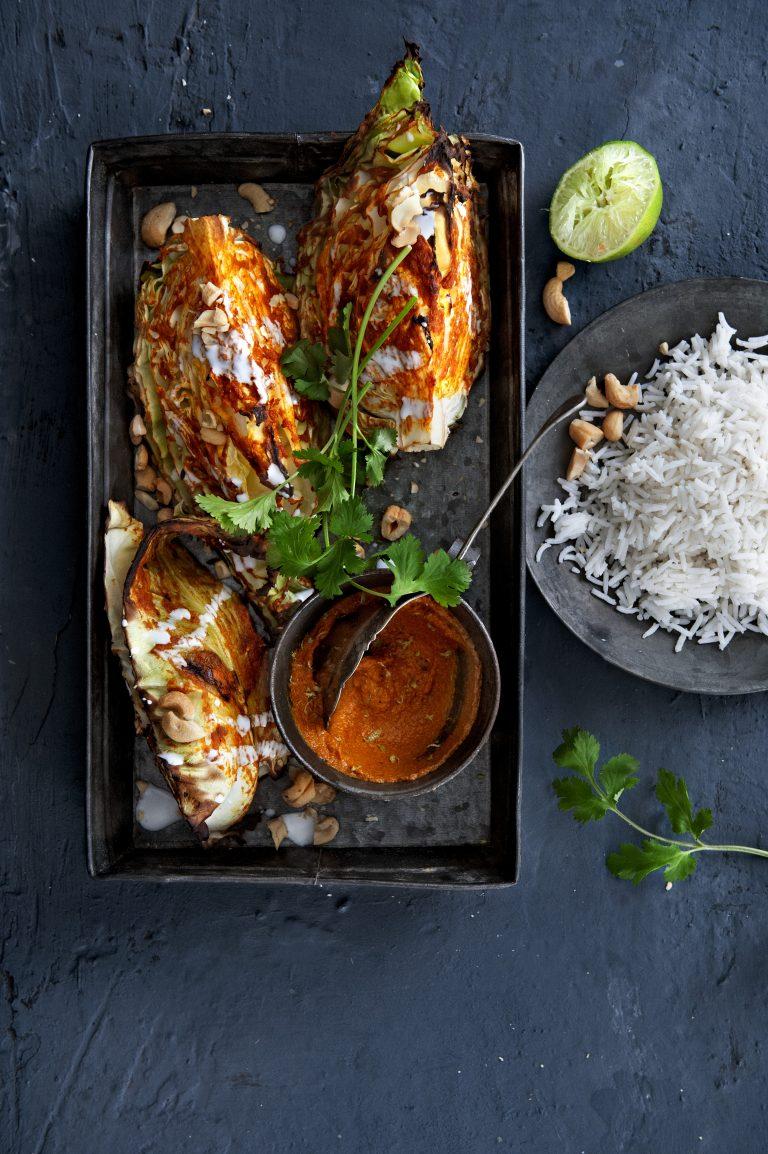 Geroosterde curry-spitskool