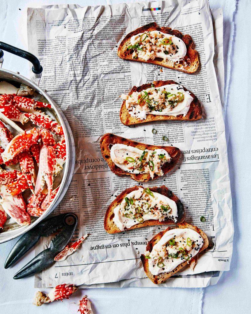 bruschetta met krab-dragonyoghurt - delicious