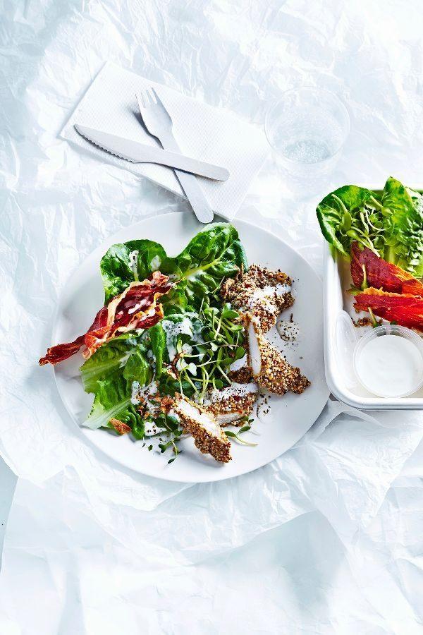 ceasarsalade met kipreepjes | delicious