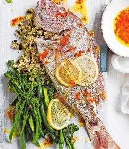 zeebaars met aardappel en olijven - delicious