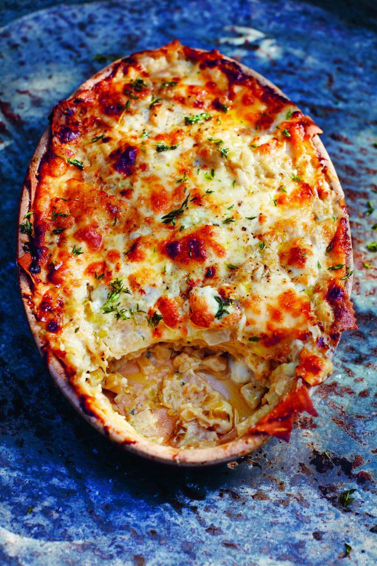 Jamie Oliver: lasagne – langzaam gegaarde florentijnse venkel, zoete prei en kazen